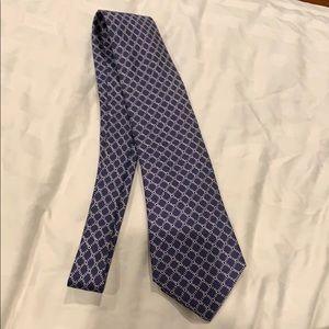 Men's Hermès Paris blue white tie authentic silk
